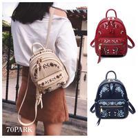 #2way Embroidered Mini Backpack  フラワー 刺繍入り ミニ バックパック 全3色 ショルダー