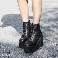 #Lace-up Platform Boots  レースアップ 厚底 ショート ブーツ ブラック