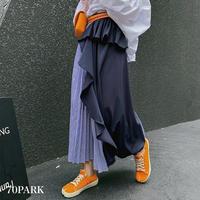 #Asymmetric Stripe Skirt アシンメトリー ストライプ柄 プリーツ スカート 全2色