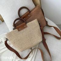 #Basket Tote Bag ペーパー素材 2way かご トートバッグ 全4色