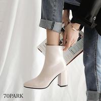 #フェイクレザー 太ヒール シンプル ショート ブーツ 全2色