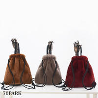 #2Way Faux Fur Backpack  エコファー 巾着 バックパック 全5色  A4収納可 ナップザック