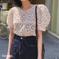 #Short Sleeve Crochet Knit Top 透かし編み パフスリーブ 半袖 ニットトップス 全2色
