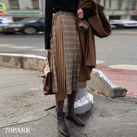 #Asymmetrical Plaid Skirt  アシンメトリー チェック柄 プリーツ ミディ スカート