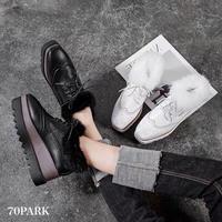 #Faux Fur Trim Platform Shoes  ファー付 ウイングチップ プラットフォーム シューズ 全2色 厚底