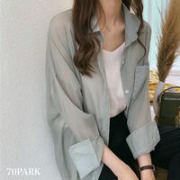 #See-through Long Sleeve Shirt シャーベットカラー シースルー 長袖 ブラウス 全2色