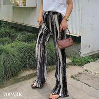 #Pleats Long Pants マーブルカラー 細プリーツ ロング パンツ ブラック