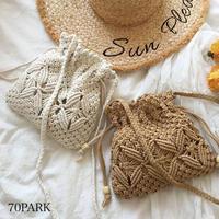 #クロシェ編み 巾着型 ミニ ショルダー バッグ 全2色