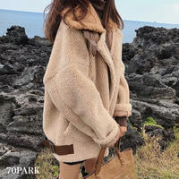 #Brown Oversized Boa Jacket  オーバーサイズ ベルテッド ブラウン ボア ジャケット