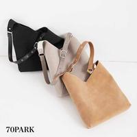 #V-cut Faux Leather Shoulder Bag  ポーチ付 スエード調 Vカット ショルダー バッグ 全3色 トート