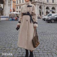 #Faux Leather Belted Boa coat フェイクレザー ベルト付 トレンチ風 ボア ロング コート