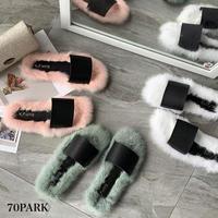 #Faux Fur Slippers  カラー フェイクファー  フラット サンダル 全3色