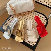 #Metallic Thong Sandals メタリックカラートング ヒール サンダル 全4色