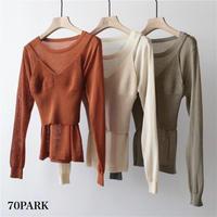 #Knit Cami & Long Sleeve Top 2piece Set ニット キャミ × シースルー 長袖 トップス セット 全5色