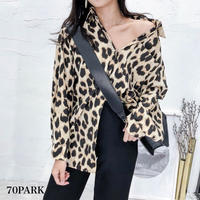 #Leopard Print Blouse  レオパード柄 プリント 長袖 シャツ 全2色 豹柄