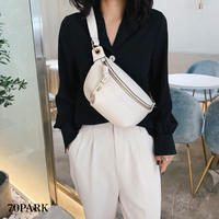 #Faux Leather Gold Chain Bum Bag  フェイクレザー ゴールドチェーン ボディバッグ 全2色