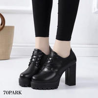 #Faux Leather Lace Up Bootie  レースアップ  ハイヒール ブーティー 黒