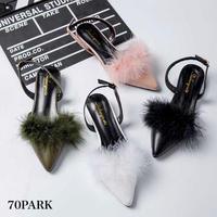 #Faux Fur Slingback Shoes ファー付 スリングバック スリッパ サンダル 全4色 パンプス