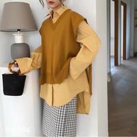 #Oversized Knit Vest オーバーサイズ サイドスリット Vネック ニット ベスト 全5色