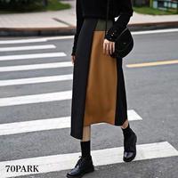 #Color Block Midi Skirt  カラーブロック アシンメトリーヘム ミディ丈 スカート