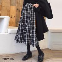 #Tweed Fringe MIdi Skirt  裾フリンジ チェック柄  ツイード スカート
