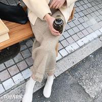 #Fringe Knit Midi Skirt 裾フリンジ  ニット ミディ スカート 全2色