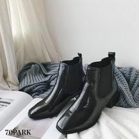 #Side Gore Faux Leather  Boots  サイドゴア フェイクレザー 太ヒール ブーツ ブラック
