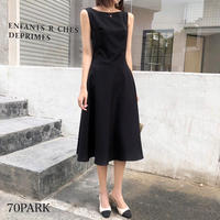 #Sleeveless Flare Dress サイドポケット付 シンプル フレア ワンピース 全2色 パーティー
