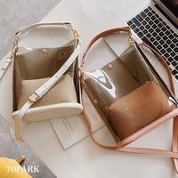#Clear Shoulder Bag ポーチ付き バケツ型 クリア バッグ 全4色