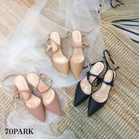 #Double Straps Pointed Toe Sandals  細 ダブルストラップ ポインテッドトゥ サンダル 全3色