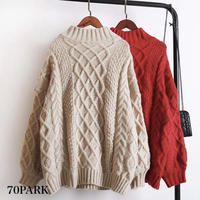 #High Neck Cable Knit ケーブル編み ハイネック 長袖 ルーズニット 全3色