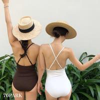 #Back Cross Swimsuit  バッククロス シンプル ワンピース 水着  全2色