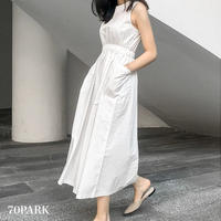 #Side Pocket Flare Dress サイドポケット ノースリーブ フレア ワンピース 全2色