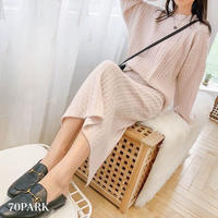 #Cable Knit Skirt Set   ケーブル ニット クルーネック スカート セットアップ 全3色