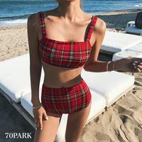 #Plaid Bikini Set  バックリボン チェック柄 ハイウエスト ビキニ レッド