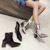 #Metallic Block Heel Boots  メタリック ポインテッドトゥ リングジップ ブーツ 全2色