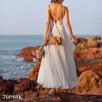 #Pleated Cami Dress バッククロス 細プリーツ ロング キャミ ワンピース ホワイト