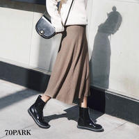 # Flare Ribbed Knit Skirt リブ ニット フレア ミディ丈 スカート 全4色