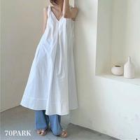 #A line Sleeveless Long Dress ツイストストラップ  Aライン ワンピース 全3色