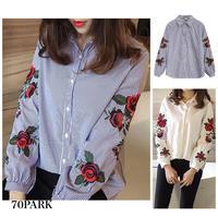 #Floral Embroidered Shirt  フラワー 刺繍入り シャツ ブラウス 全2色 ストライプ