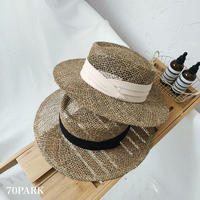 #Straw Hat  リボン付き つば広 ベージュ ストローハット  全2色 帽子