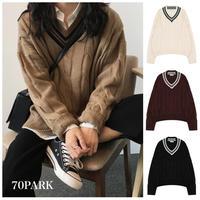#V-neck Tilden Sweater ケーブル編み チルデンニット 全4色  Vネック