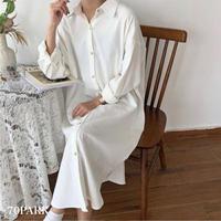 #Long Sleeve Shirt  Dress  長袖 ルーズフィット シャツ ワンピース 全2色