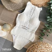 #Crochet Swimsuit  クロシェ編み 背中開き ワンピース 水着  ホワイト