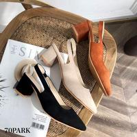 #Slingback Faux Suede Heel Shoes スエード調 スリングバック シューズ 全3色 ミュール