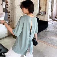 #Back Slit T-shirt バック スリット ルーズ Tシャツ 全5色 バックシャン