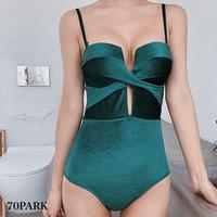 #Velvet Twist Swimsuit  ベロア ツイスト カットアウト ワンピース 水着  グリーン