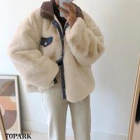 #Oversized Faux Fur Jacket オーバーサイズ デニム × フェイクファー ジャケット 全2色