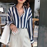 #Oversized Striped Shirt  ストライプ柄 ルーズフィット 長袖 シャツ 全2色 羽織
