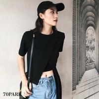 #Asymmetric Bow T-shirt アシンメトリー サイド リボン クルーネック Tシャツ 全2色